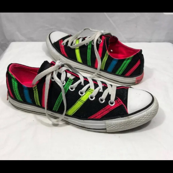 94dfaa48cef2e7 Converse Shoes - Converse Black Neon Pink Green Striped Sneakers 11